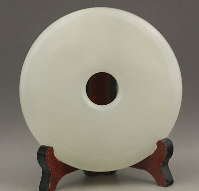 Old Chinese natural jade hand-carved plate Bi ping an kou