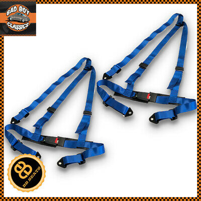 3 Point Blue Car Racing Seat Belt Harness Universal Design Pair