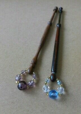 2 Varigated Wood Lace Bobbins. Spangles.