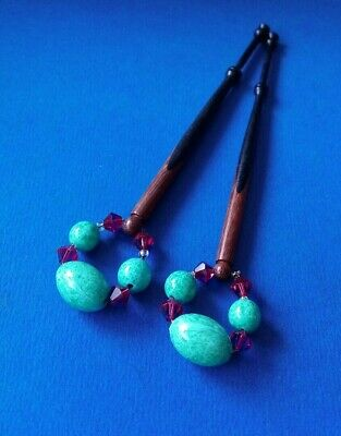 Pair Spliced Wood Lace Bobbins. 2 Woods. Spangles.