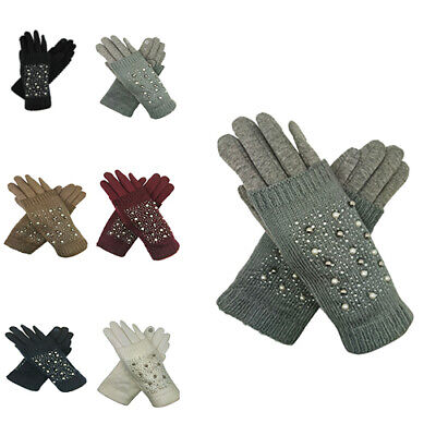 Ladies Womens Gloves Winter 3 in 1 Knit Fingerless Mittens Stylish Pearl Design