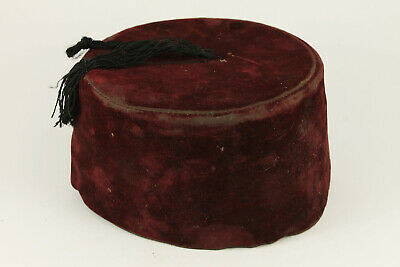 1950's Vintage Red FEZ Embroidered Ottoman Hat With Tassle