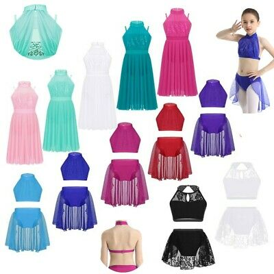 Girls Lyrical Dance Mock Neck Leotard Dress Ballet Crop Top+Tulle Skirt Costume