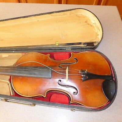 Antique 1800s Germany Copy Stradivarius Violin G&B & Antique Germany Bow 4/4