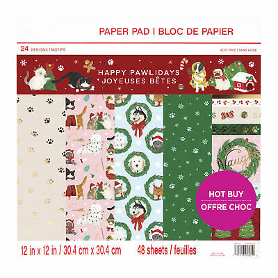 Craft Smith Design-Papierblock 30,4 x 30,4cm (48 Blatt) - Happy Pawlidays