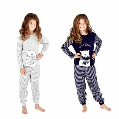 Kids/Girls Polar Bear Fleece Childrens Pyjamas Pyjama PJs Grey Age 5-13