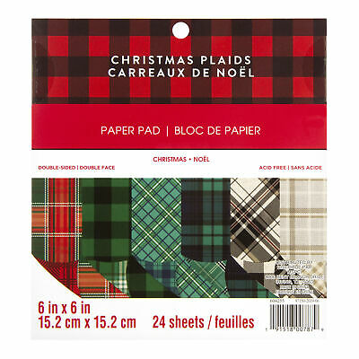 Craft Smith Design-Papierblock 15,2 x 15,2cm (24 Blatt) - Christmas Plaids
