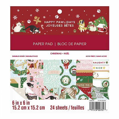 Craft Smith Design-Papierblock 15,2 x 15,2cm (24 Blatt) - Happy Pawlidays