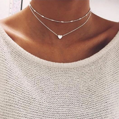 Tiny Heart Choker Necklace for Women gold Silver Chain Smalll Love Necklace Pend