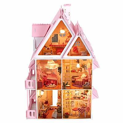 Cute Large Wooden DIY 3-Storie Doll's House Multiple LED Lights Kids Dollhouse