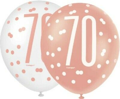 "6 x 12"" Rose Gold 70 Latex Balloons Ladies 70th Birthday Party Decoration Helium"