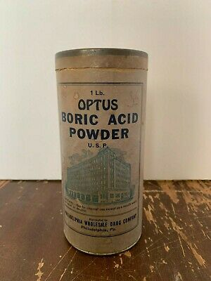 Vintage Optus Boric Acid Powder Box Philadelphia Wholesale Drug Company