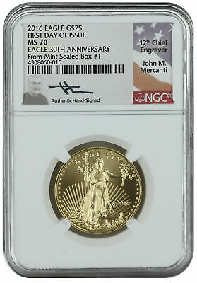 2016 $25 1/2oz American Gold Eagle MS70 NGC First Day Issue Mercanti Mint Box #1