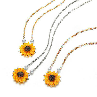 Sunflower Pendant Necklace Fashion Women Imitation Pearl Chains Accessory Gift