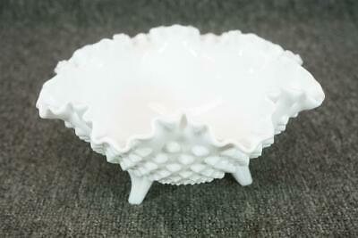 Fenton Milk Glass Footed Hobnail Bowl With Frilled Edges