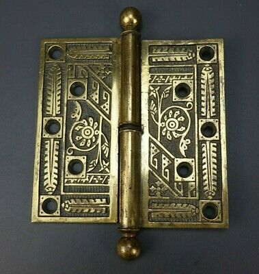 "Antique Brass Ornate Eastlake Hinge 4 1/2"" x 4 1/2"" (SINGLE)"