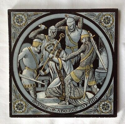 """Minton & Hollins & Co. Victorian Tile """" Murder Of A' Becket AD 1171"""""""