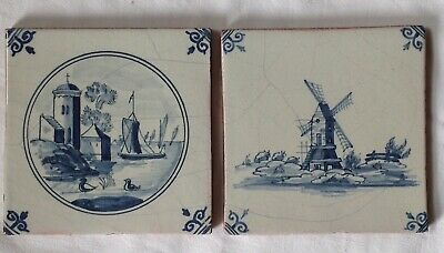Antique Victorian Delpht Tiles, Windmill & Ships.