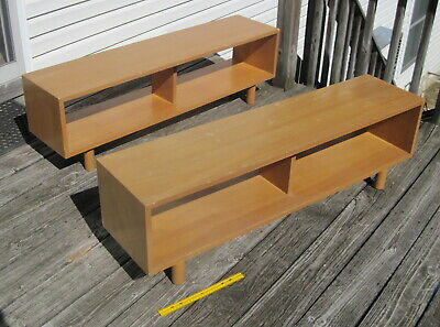 Pair 1950's Vintage Mid-Century Modern Blonde Wood Stackable Low Shelving Units