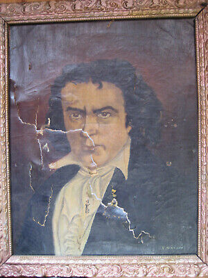 Antique Beethoven Portrait Oil Painting Signed Ivanoff Museum Quality Framed Old