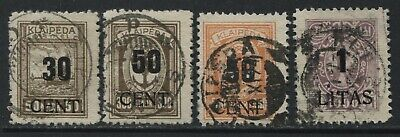 Germany Memel 1923 overprinted Lithuanian Occupation stamps various used
