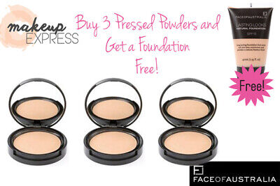 FACE OF AUSTRALIA - Pressed Powder (Beige) - 3 Pack with a FREE Foundation!