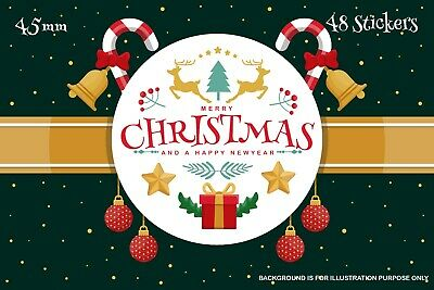 48 x Merry Christmas stickers Presents, Gifts Seal Xmas Party Labels SNP28