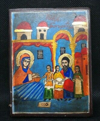 Antique Russian Nativity of Mary Feast Day Holy Mother Wooden Icon Painting Wood