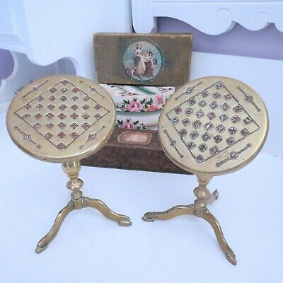 Pair antique brass folding miniature tables candle reflectors games board top
