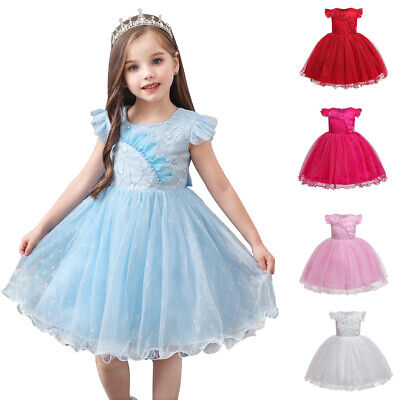 Toddler Kids Flower Girl Tutu Dress Bridesmaid Princess Prom Gown Pageant Formal