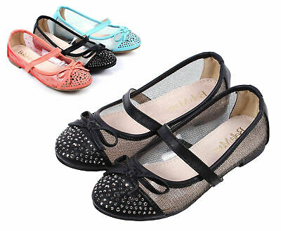 Black Color Casual Glitter Bowknot Kids Youth Flats Girls Dress Shoes Size 10