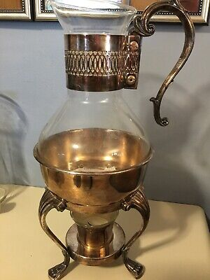 Beautiful Vintage F.B. Rogers Silverplate Coffee Tea Carafe Pot Warmer Server