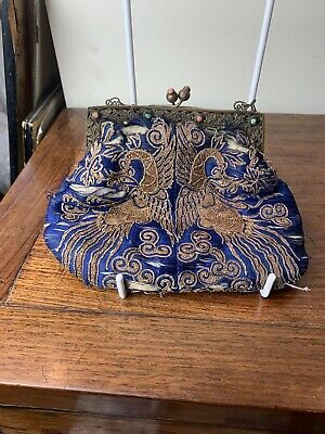 antique chinese silk embroidery purse with natural coral and turquoise