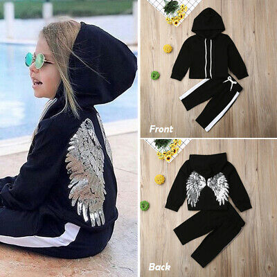 New Toddler Kids Baby Girl Clothes Hooded Wing Tops Long Pants Tracksuit Outfits