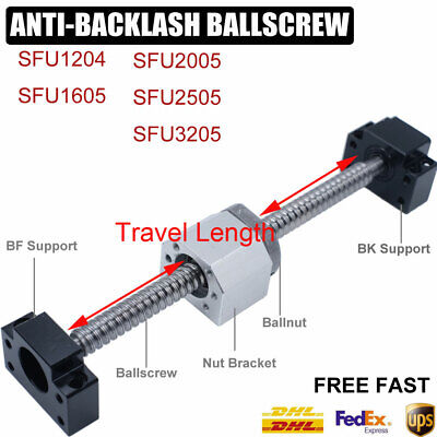 Rolled Ballscrew SFU1204/1605/2005/2505/3205&Ballnut&End Support CNC Machine Kit