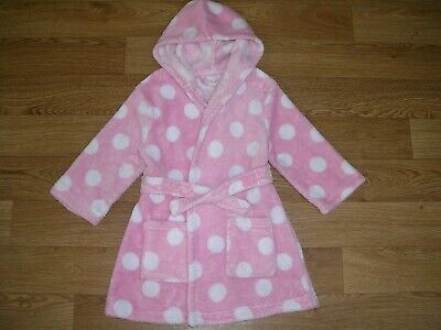 GEORGE Girls Dotty Print Pink Fleece Dressing Gown Pyjamas Age 2-3 98cm