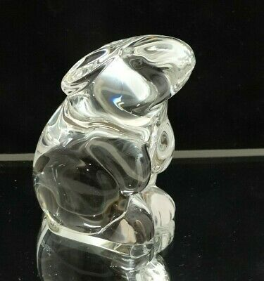 Signed Baccarat France Crystal Seated Clear Bunny Rabbit Art Glass Figurine