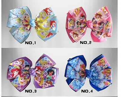 "50 BLESSING Happy Girl 5.5/"" B Princess Hair Bow Clip Cinderella Frozen Hairbow"