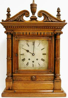 Antique English Carved Oak 8 Day 3 Train 8 Bell Musical Chime Bracket Clock