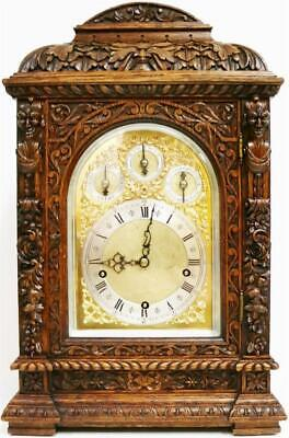 Antique Intricately Carved Oak 3 Train 9 Gong Musical Chime W&H Bracket Clock