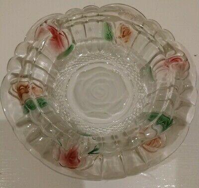 FNG Clear Heavy Glass Ashtray Bowl Etched Rose Center Floral Green Red Vintage