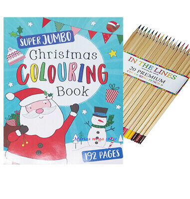 Kids A4 Jumbo Christmas Colouring Book 190 Pages Childrens Activity + 20 Pencils