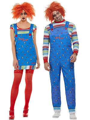 Adult Chucky Costume Mens Ladies Halloween Killer Doll Horror Fancy Dress Outfit