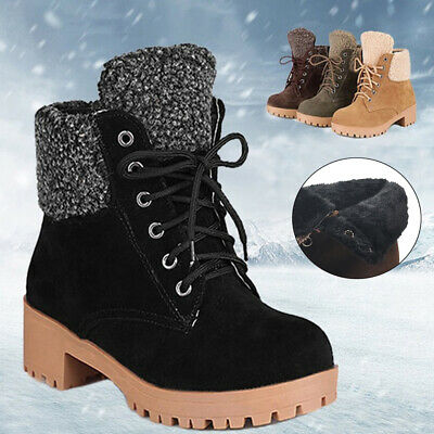 ✅Women Warm Ankle Boots Ladies Army Combat Flat Grip Sole Fur Lined Shoes UK 3-7