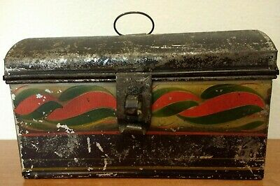 FINE SMALL ANTIQUE PAINTED TIN DECORATED EARLY 1800s DOCUMENT DESK BOX CT NYS