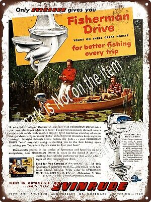 """1949 Evinrude Outboard Motors with Fisherman Drive Boat Metal Sign 9x12"""" A467"""