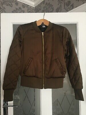 Women's/Girls Khaki Padded /Puffer Jacket With Quilted Sleeves - Size 12