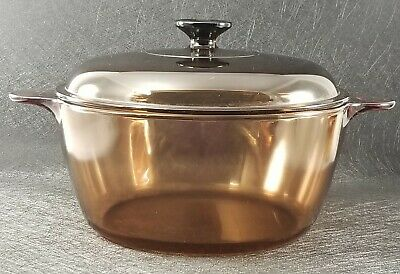 Corning Vision Ware Pyrex Amber 4.5L Dutch Oven Stock Pot Glass With Lid