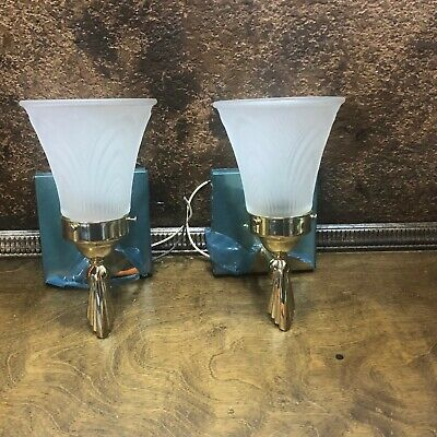 Pair of NOS Vintage Brass Wall Sconce Lamp Lights Mid Century Fixtures w Globes