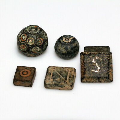 LOT OF 6 BYZANTINE BRONZE WEIGHTS CIRCA 500-700 AD-one with silver inlay